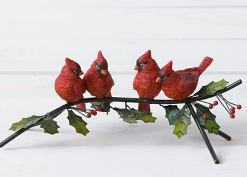 Cardinals Perched on a Branch - Iron