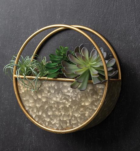 Round Metal Wall Pocket Planter