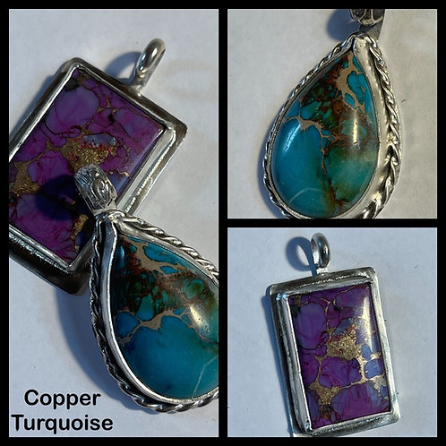 Sterling Silver and Copper Turquoise Necklace
