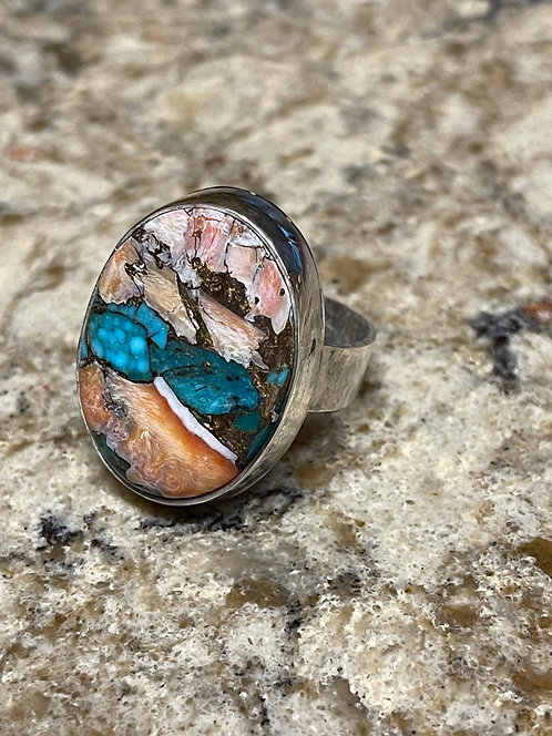 Large Natural Spiny Oyster Copper Turquoise set in Handmade Sterling Silver