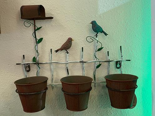Garden Pots with Mailbox & Birds