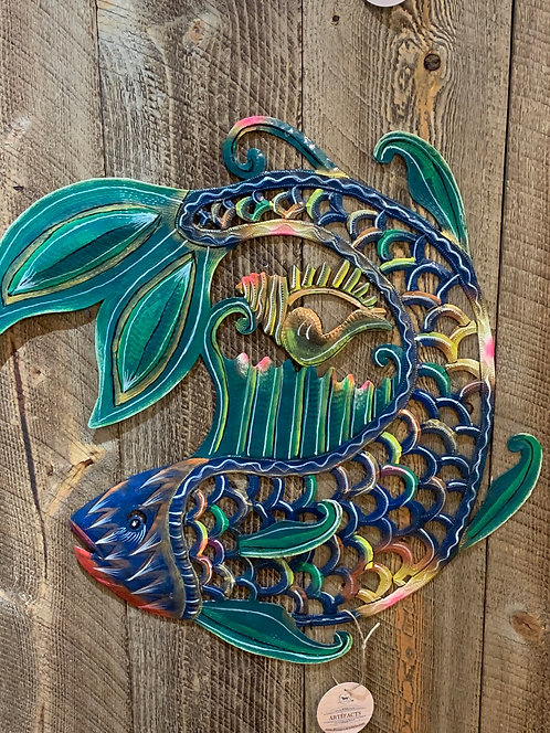 Fish and Shell Haitian Metal Drum Wall Art