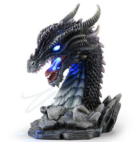 Horned Obsidian Dragon Bust w/ LED Light
