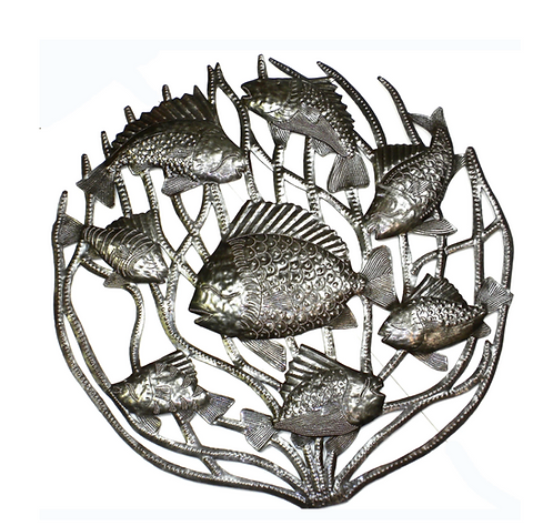 Fish in Coral Haitian Metal Drum Wall Art
