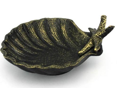 Antique Gold Cast Iron Shell Dish