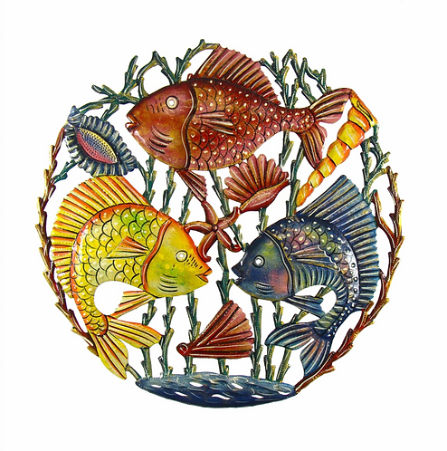 Trio of Fish Nautical Haitian Metal Drum Wall Art