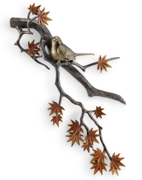 Metal Bird and Autumn Leaves Wall Decor