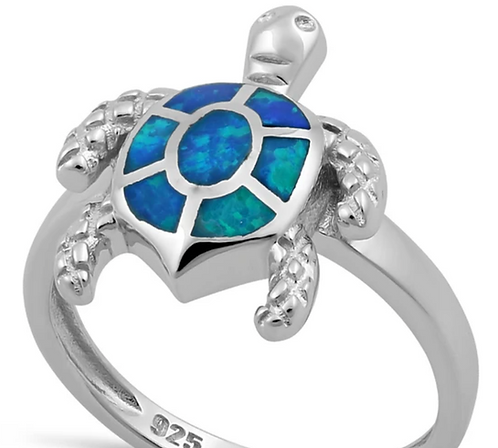 Sterling Silver Turtle & Blue Lab Opal Ring