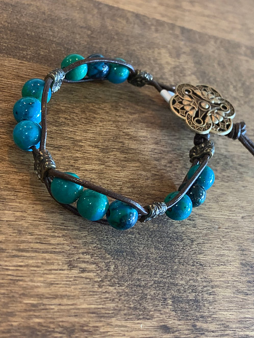 Bracelets - Various Stones with Leather
