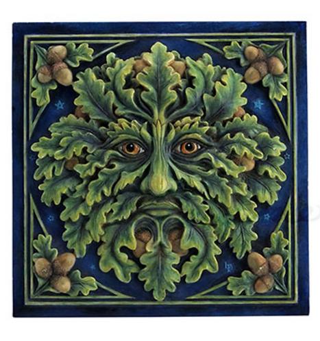 Green Man: Spirit of the Oak Wall Plaque by Lisa Parker