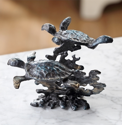 Turtle Pair and Coral Decor in Cast Iron
