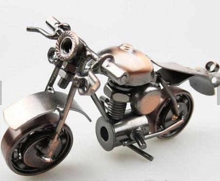 Metal Motorbike Model Iron Handicraft Antique Bronze Silver Halley Motor