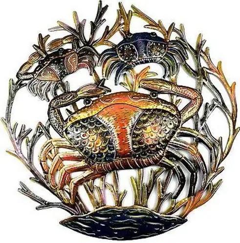 Three Crabs Haitian Metal Drum Wall Art