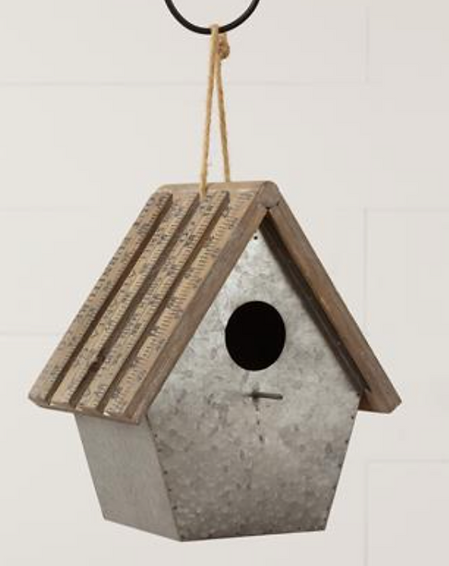 Metal Bird House with Yard Stick Roof
