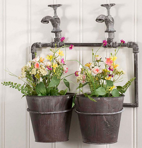 Two Pot Wall Planter with Spigot