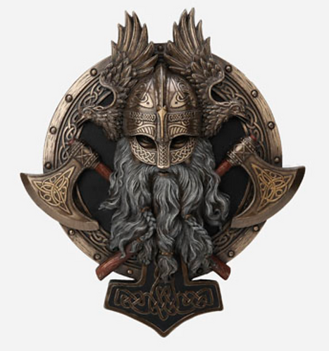 Viking Berserker TwinAxe Valhalla Wall Plaque