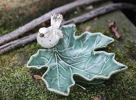 Ceramic Leaf Dish w/ Bird