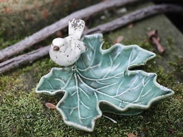 Ceramic Leaf Dish w/ Bird