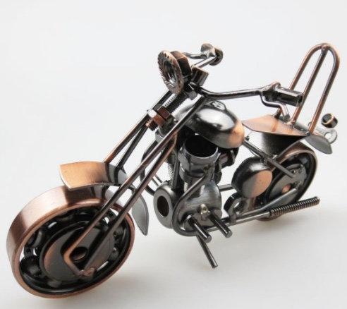 Metal Motorbike Model Iron Handicraft Antique Bronze Silver Halley Motorcycle