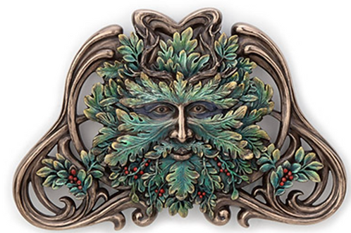 Green Man: Winter Mistletoe Wall Plaque