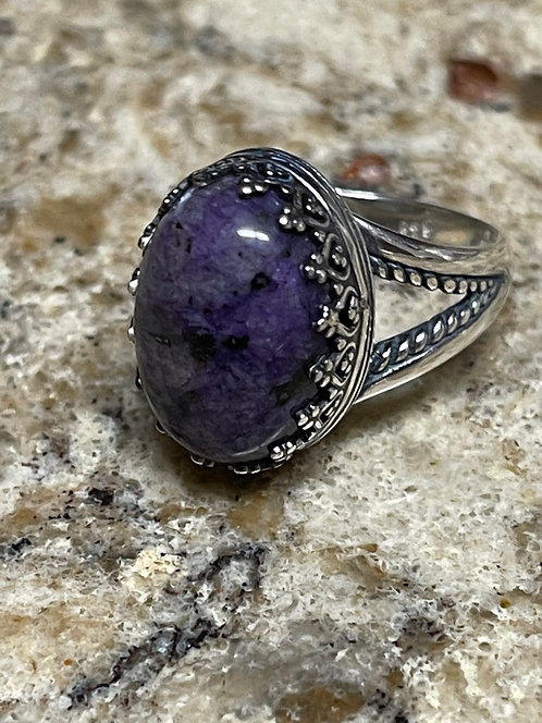 Charoite Ring with Sterling Silver Setting