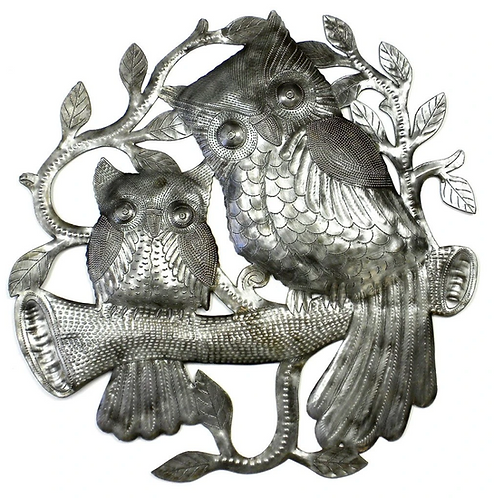 Owls on Perch Haitian Metal Drum Wall ARt