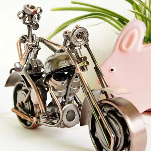 3D Racing Man wrought iron car model riding motorcycle
