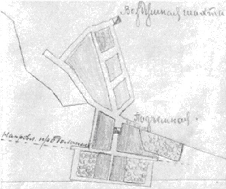 Фрагмент плана шахты № 1-2 Григорьевского рудника, 1918 год