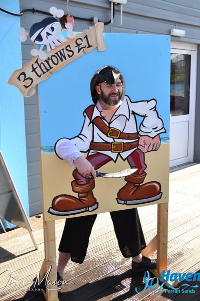 Pirate Blair Cowan in the stocks