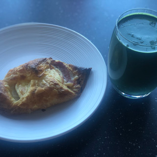 Homemade bacon turnover and smoothie