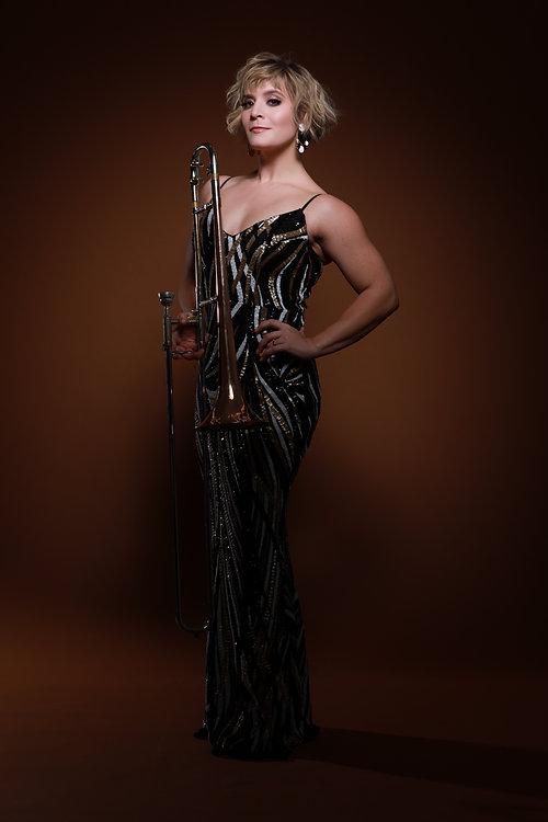 Aubrey Logan vocalist, trombone player, songwriter, entertainer. photo by Jeff Xander