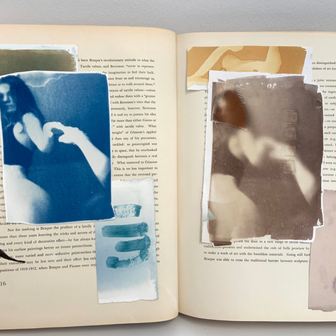 Cyanotype and VanDykeBrown within altered book.