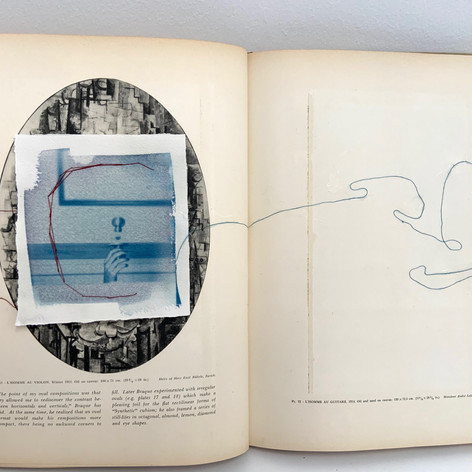 Cyanotype and thread within altered book
