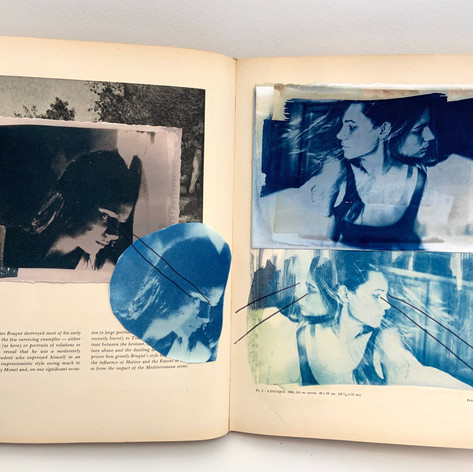 cyanotypes within altered book