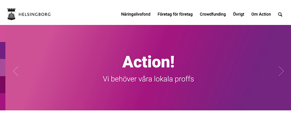 Screenshot from a web homepage which says Action - Vi behöver vära lokala proffs.