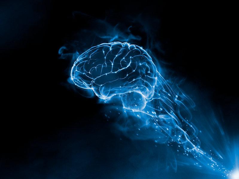 Mix Media 3D Render - Brain blue fire sm