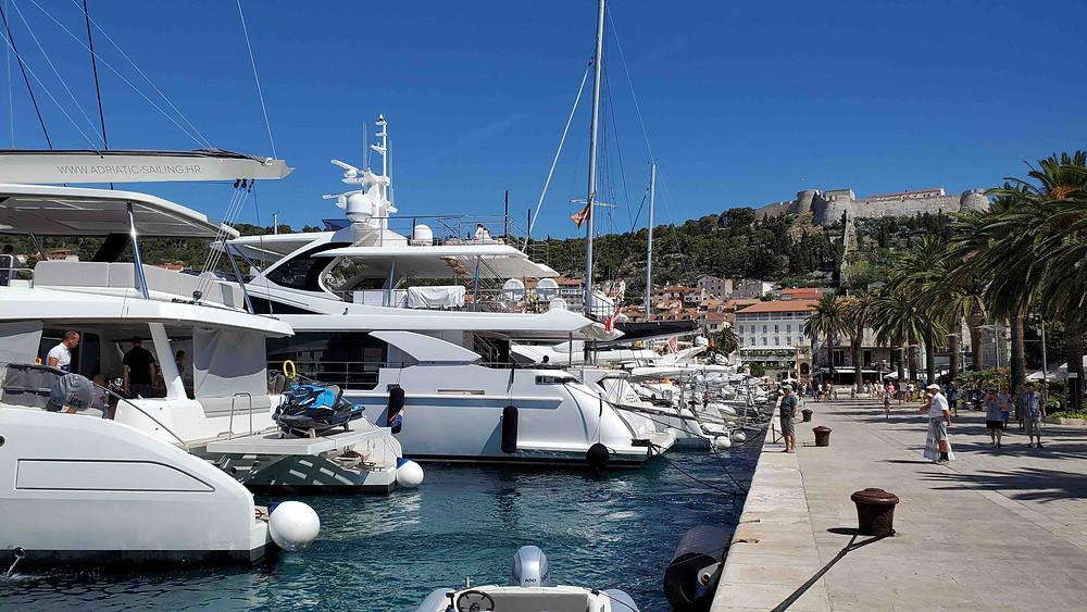 Yachts at the Riva, Hvar