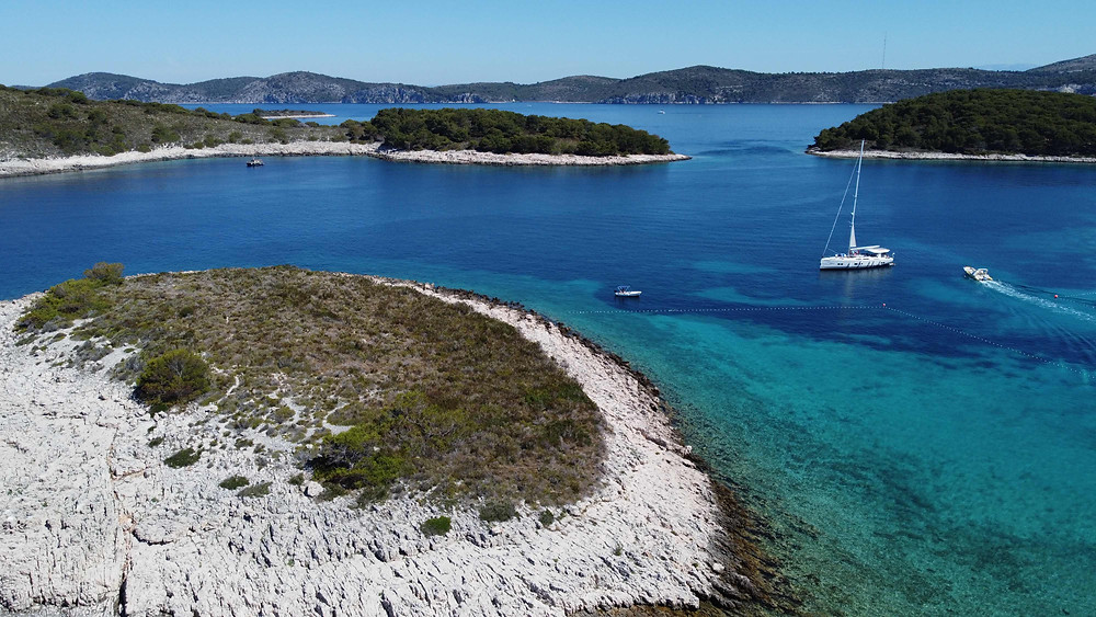 drone shot of Mlini beach of Pakleni Islands, Croatia