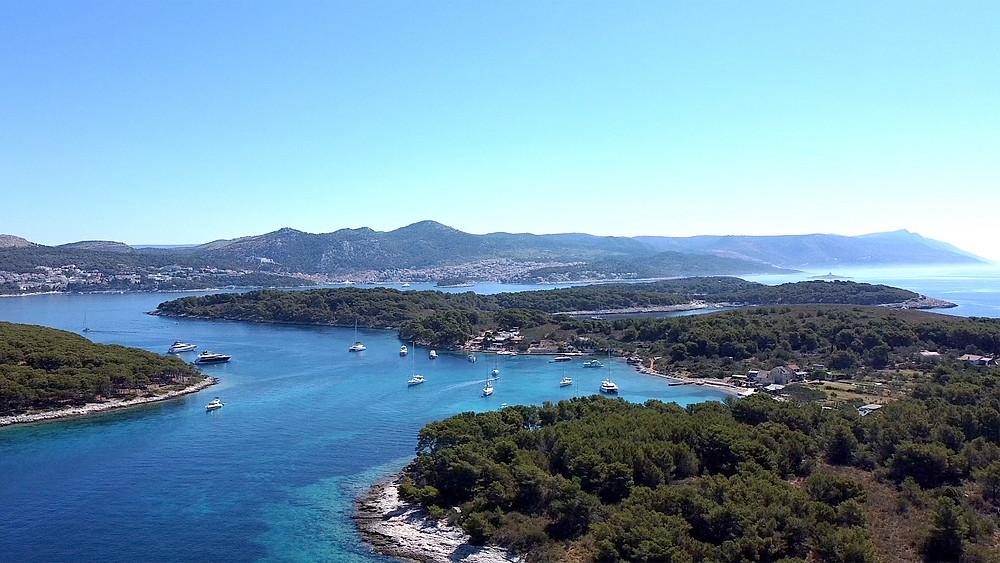 Drone shot of Zdrilca beach, Pakleni Islands, Croatia