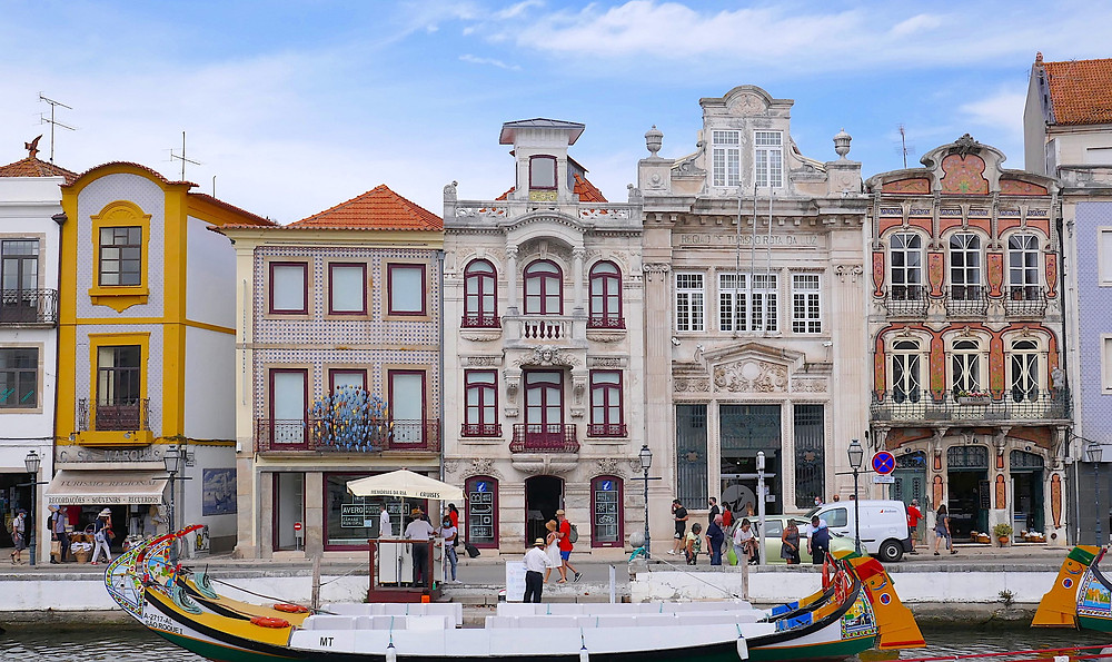 Aveiro Portugal - a canal town with Art Nouveau buildings and colourful canal boats