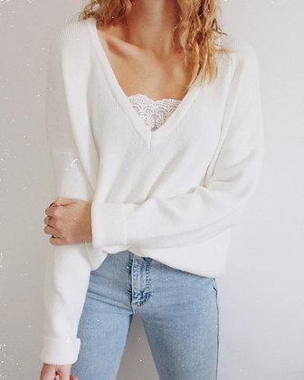 Pull blanc Camélia