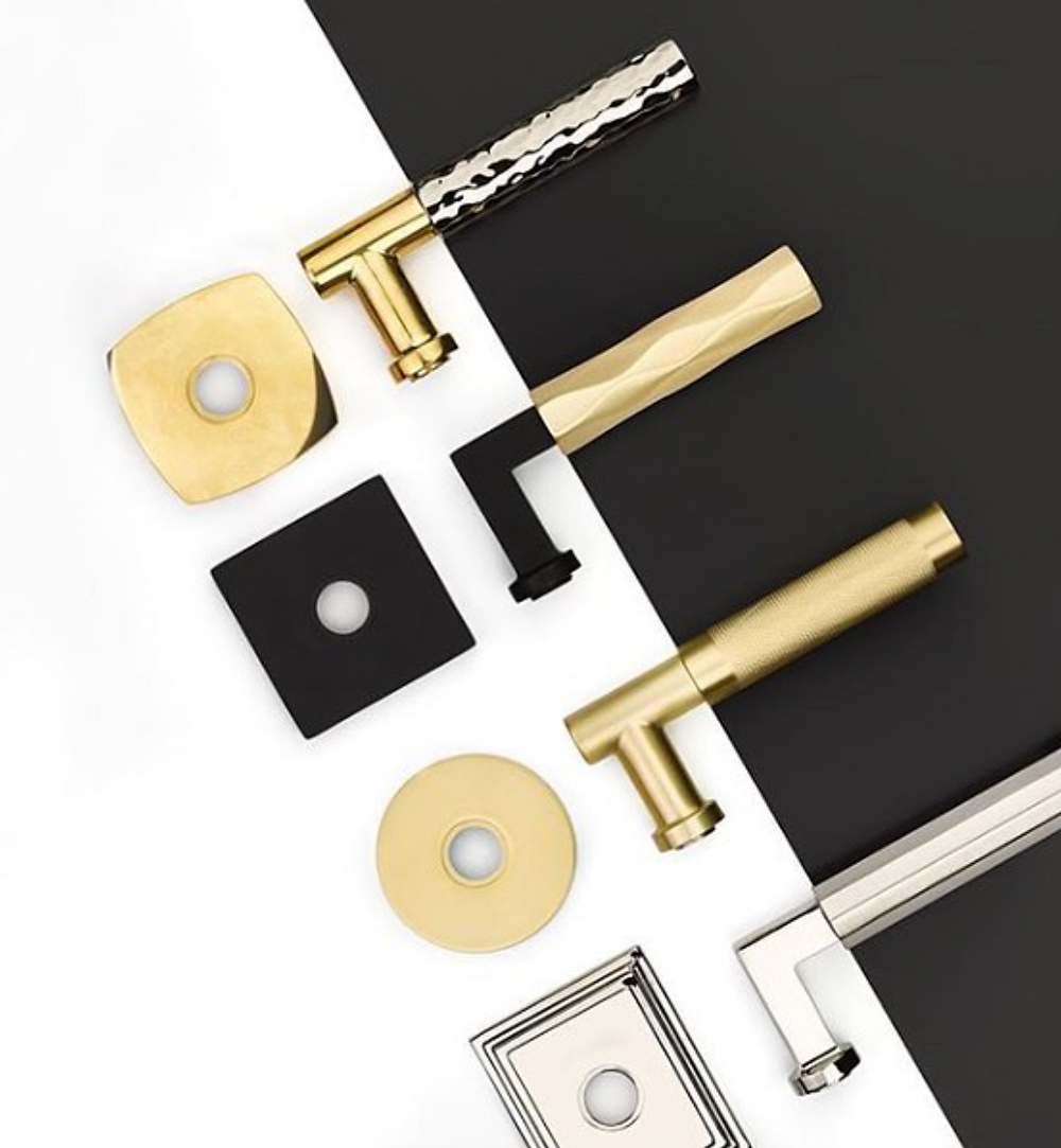 hardware, modern, modern hardware, door knobs, designer hardware, luxury hardware, gold accents, black accents, decor, home decor