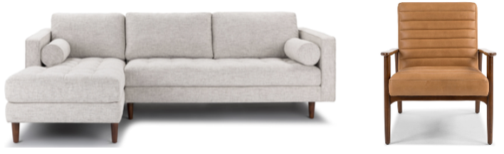Gray Sofa, Gray Sectional, Mid-Century Modern, Leather Accent Chair