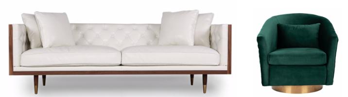 White Leather Sofa, Mid-Century Modern Sofa, Plush Green Accent Chair, Green Accent Chair, Mid-Century Modern
