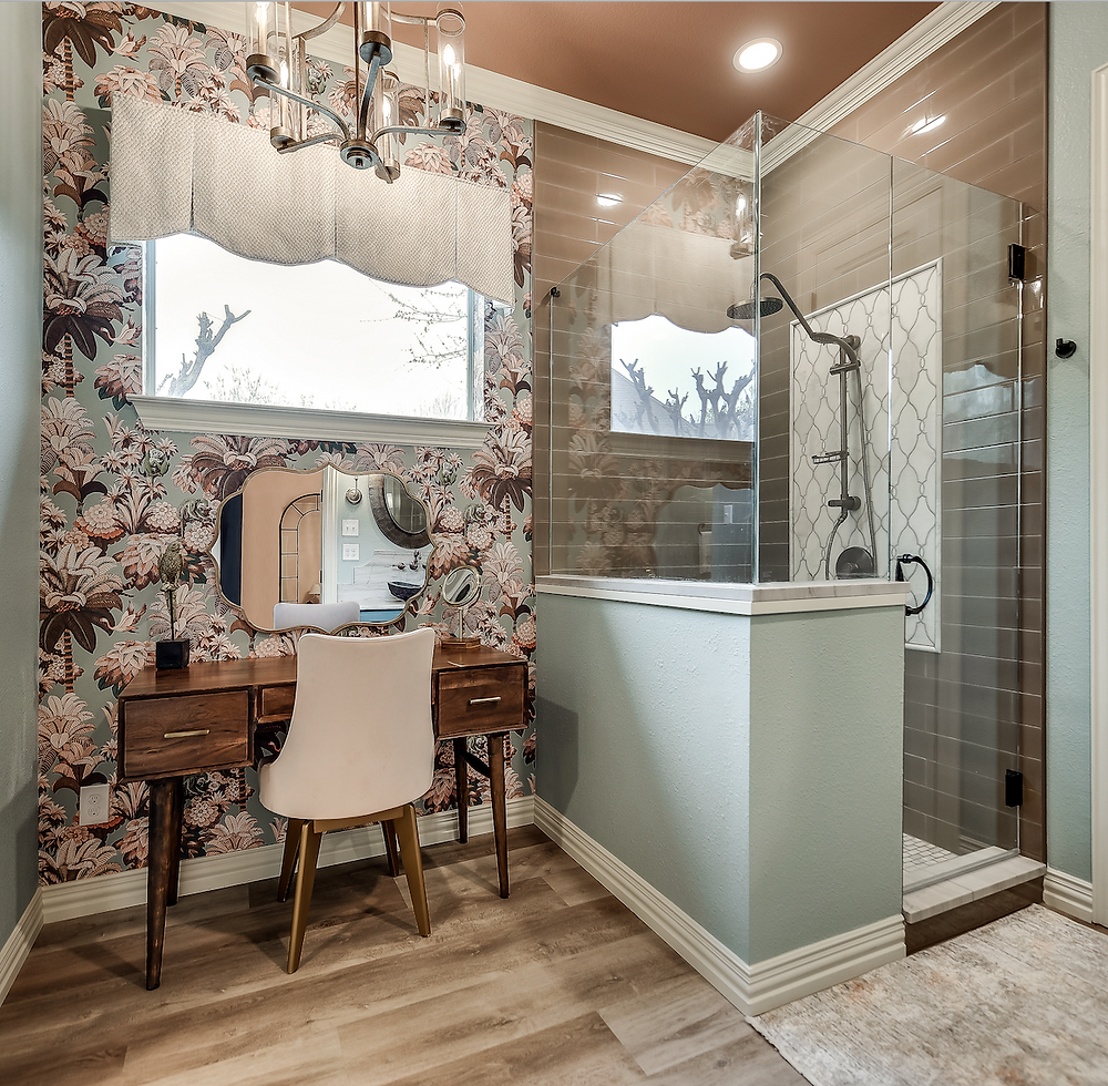 bathroom remodel, master bathroom, transitional, transitional bathroom, designer tile, wallpaper, neutral colors, colorful, chandelier, bathroom bliss