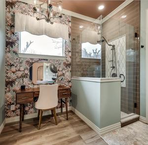 bathroom remodel, master bathroom, transitional, transitional bathroom, designer tile, wallpaper, neutral colors, colorful, chandelier, bathroom bliss