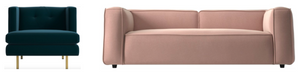 Blush Pink Sofa, Green Accent Chair, Mid-Century Modern Sofa, Mid-Century Modern Accent Chair