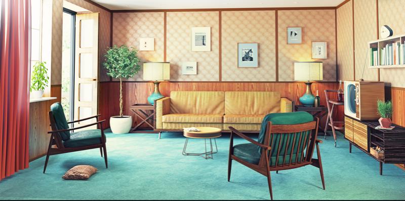 Mid-Century Sofa, Mid-Century Accent Chair, Lamp, Wallpaper, Indoor Plant