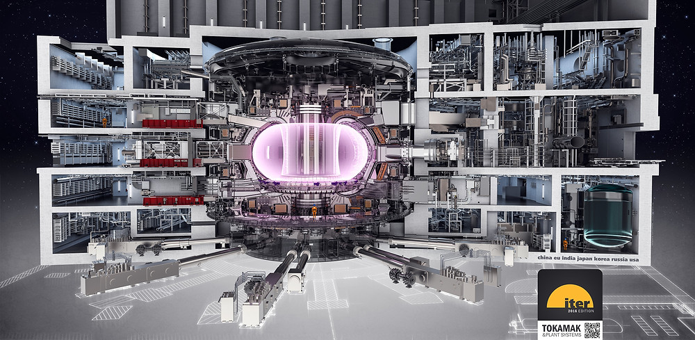 The Tokamak and its plant systems housed in their concrete home. An estimated one million parts will be assembled in the machine alone.