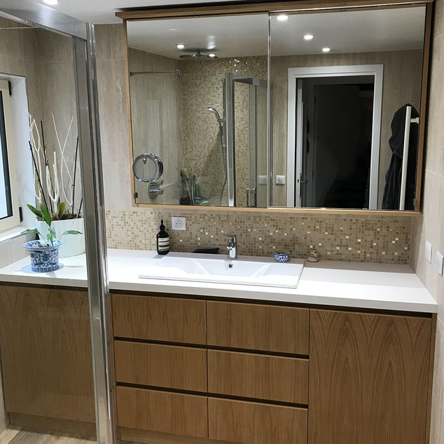 meuble salle de bains chêne